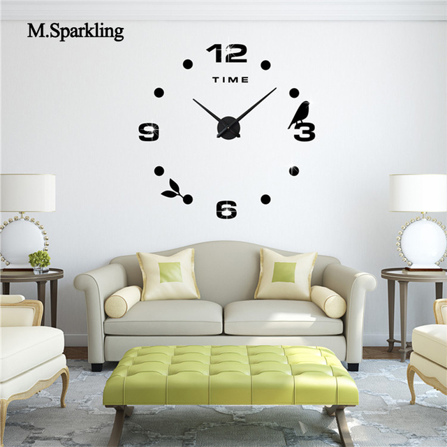 M.Sparkling Decorative Wall Clock 3D Large Size Creative Clock Bird Design  Digital Bedroom DIY