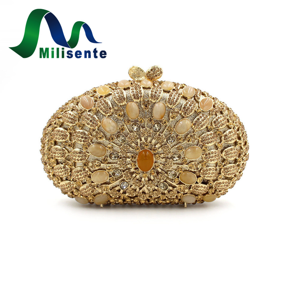 ФОТО Milisente Women Luxury Crystal Flower Evening Bags Wedding Clutches Party Purse Yellow Agate Eveningbags Handbags Chain Gold