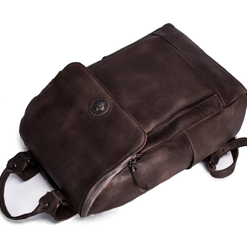 Handmade Vegetable Tanned Leather Backpack Rucksack Travel Backpack School Backpack 12