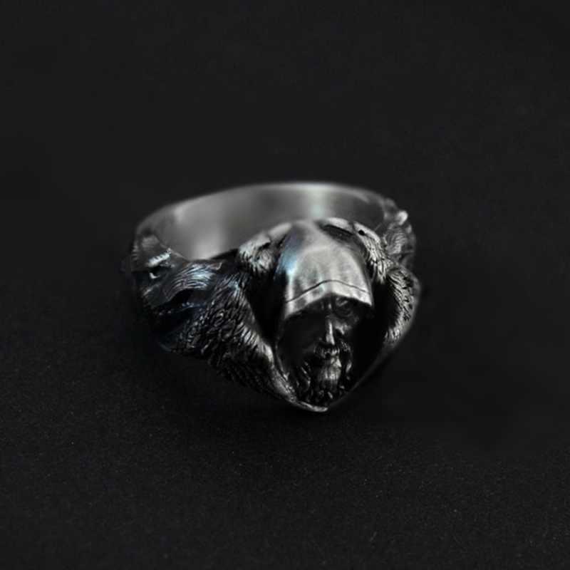 EYHIMD Скандинавская мифология Odin Raven серебряные кольца мужские Викинг-Волк кольцо из нержавеющей стали скандинавский амулет ювелирные изделия