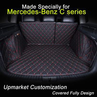 Car Trunk Mats Customized For Mercedes Benz C200L C180L 3D Trunk Carpets All Covered Waterproof Black