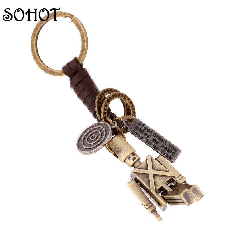 SOHOT British Style Soldiers Keychain Handbags Pendant Key Chains Key Ring Key Genuine Leather Accessories for Women Men Gifts broad paracord