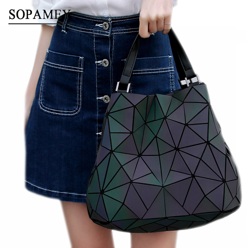 New Women Noctiluce Shoulder Bag Geometry Sequins Mirror Saser Plain Folding Bags Luminous Handbags PU Casual Tote Bags bolso 2018 fashion woman white bag shoulder diamond handbag laser geometry package luminous sequins mirror plain folding tote new