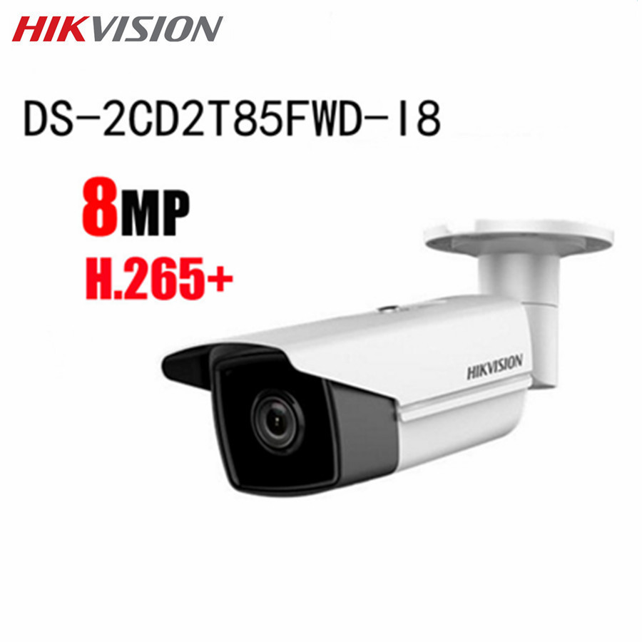 Hikvision 8MP IP POE Camera DS-2CD2T85FWD-I8 ONVIF IR WDR H.265 SD Card Night Version Outdoor CCTV Surveillance Bullet Camera hikvision original outdoor cctv system 8pcs ds 2cd2t55fwd i8 5mp h 265 ip bullet camera ir 80m poe 4k nvr ds 7608ni i2 8p h 265