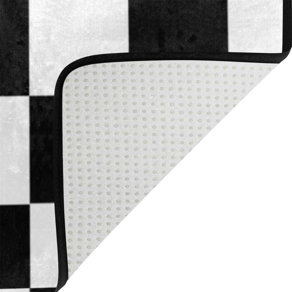 Tapis de sol à carreaux blanc noir tapis de sol moderne pour salle de jeux salon