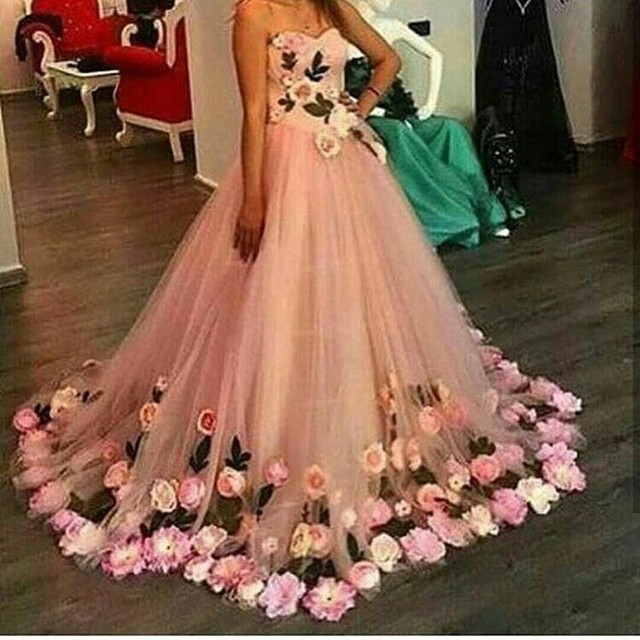 Vestidos De Fiesta Beautiful Handmade Flowers Ball Gown Prom Dress Tulle Pink Evening Dresses 2017 Special