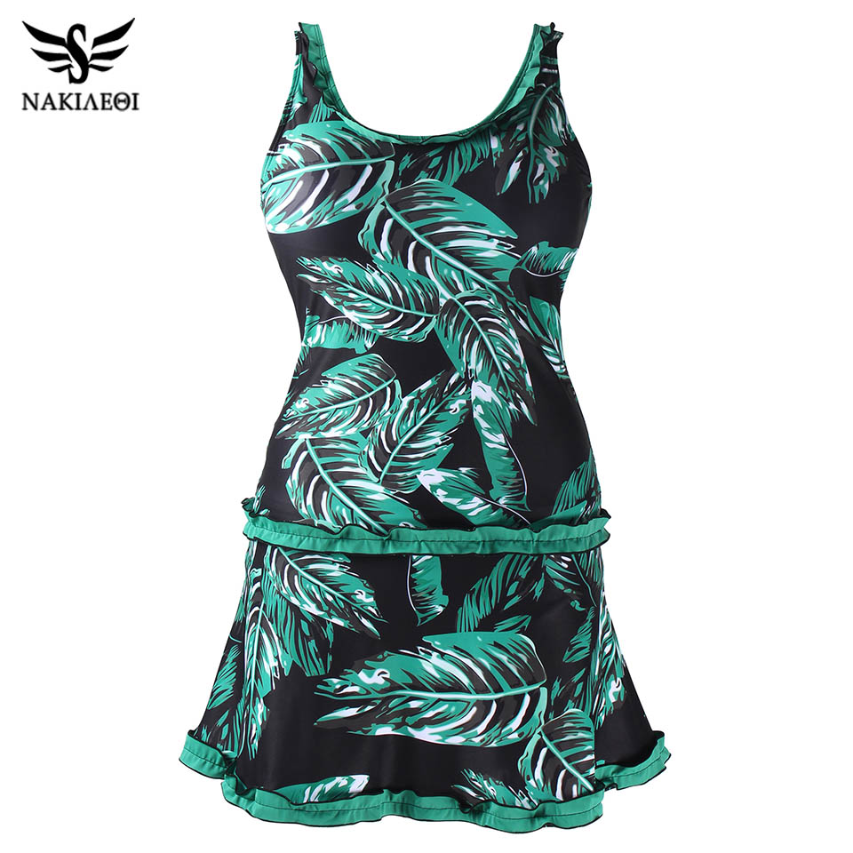 NAKIAEOI 2018 New Plus Size Swimsuits Flower Print Women Swimwear Two Pieces Tankinis Vintage Bathing Suits Swim Beach Wear 2XL