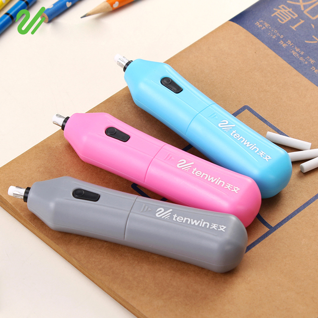 Derwent battery operated eraser electric eraser automatic school supplies leather stationery material escolar with 10 refills