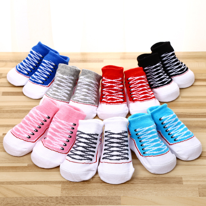 Suitable for 0-18 Months Baby's Gift Baby Boy Girl Cartoon Socks New Born Cotton Indoor Shoes Sock 7 color