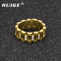 היפ הופ צבע זהב מלודי EHSANI להקת טבעת Mens נירוסטה פלדה 3 השורה לינג קריסטל ראפ פאנק טבעת אצבע יום הולדת מתנה