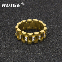 Gold Plated Hip Hop MELODY EHSANI Band Ring Mens Stainless Steel 3 Row Bling Crystal Punk