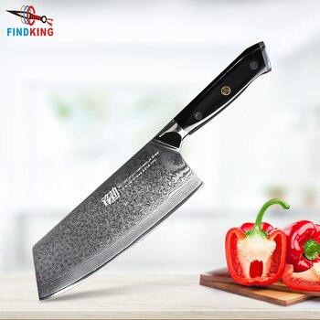 FINDKING G10 mango cuchillo de Damasco 7 pulgadas profesional cuchillo de carnicero 67 capas de acero de Damasco cuchillo de cocina cuchilla