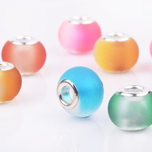 20 Pcs/Lot Mixed Color DIY Round Solid Color Glass Charms Beads Big Hole fit European Pandora Bracelet Bangle