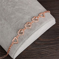2017 Rose Gold Plated Chain Link Bracelet for Women Ladies Crystal Heart Jewelry Gift Wholesale Price Girls Bracelets & Bangles