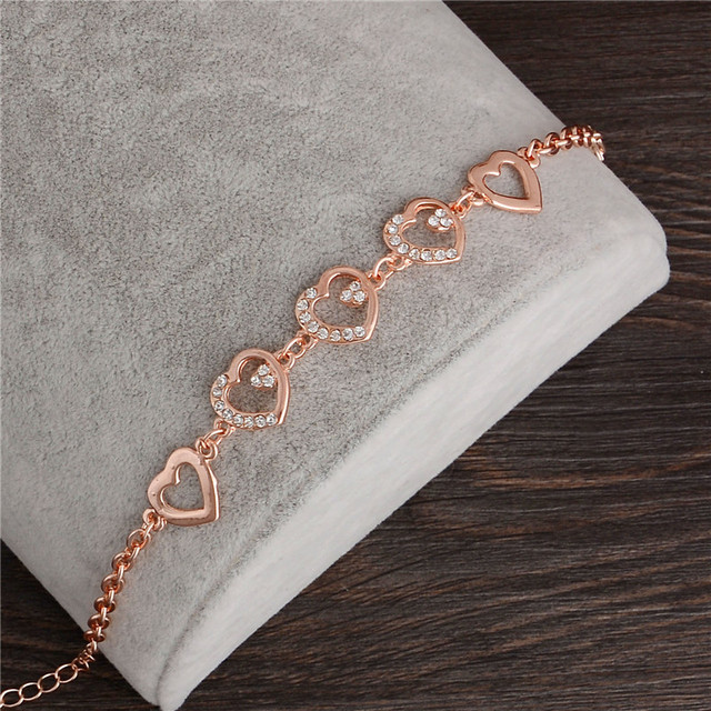 2018 Rose Gold Chain Link Bracelet for Women Ladies Crystal Heart Jewelry Gift Wholesale Price Girls Bracelets & Bangles
