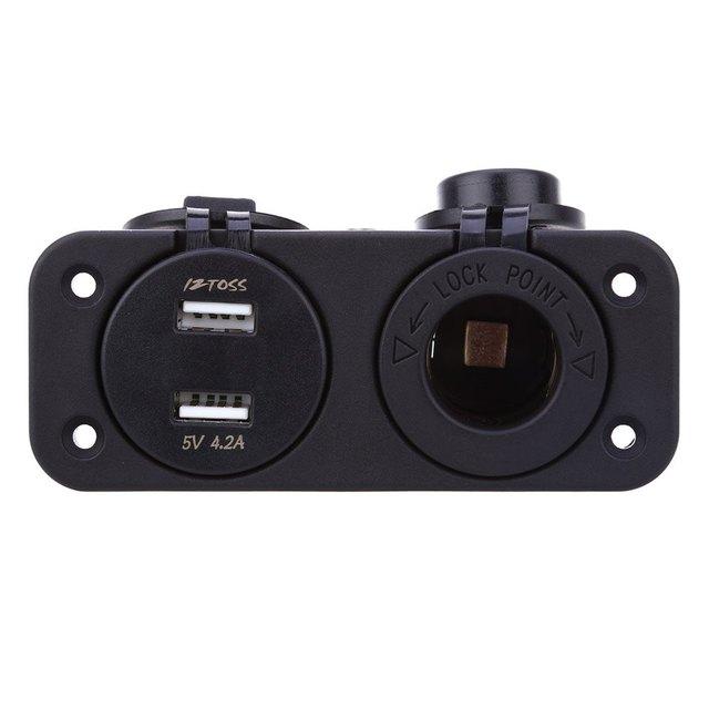 Universal Vehicle Waterproof Cigarette Lighter Socket C909 Z 12V Phones GPS USB Charger Power Adapter with Voltmeter Socket
