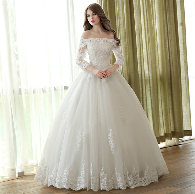 2017 Lace Ball Gown Wedding Dresses Boat Neck 34 Sleeve Custom Made