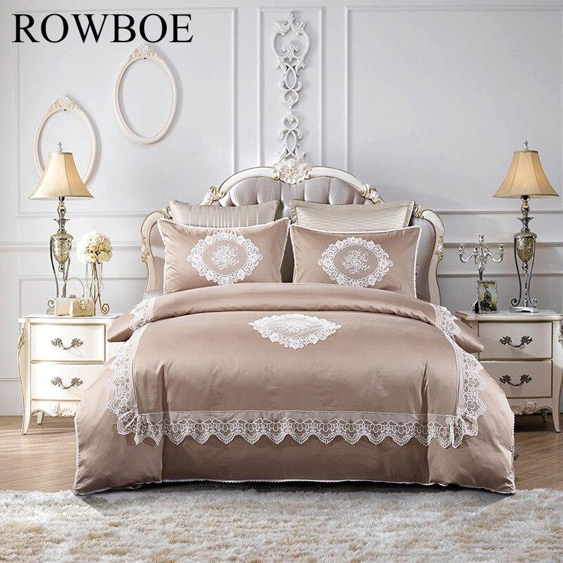 ROWBOE brand Premium satin craft cotton Mediterranean style four piece quilt cover sheets pillowcase bedding set