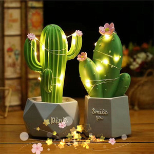 Ins Resin 3D Cactus Romantic Pink Green Night Light Battery Power Home Decorative Table Lamp For Crafts Home Decoration Lighting