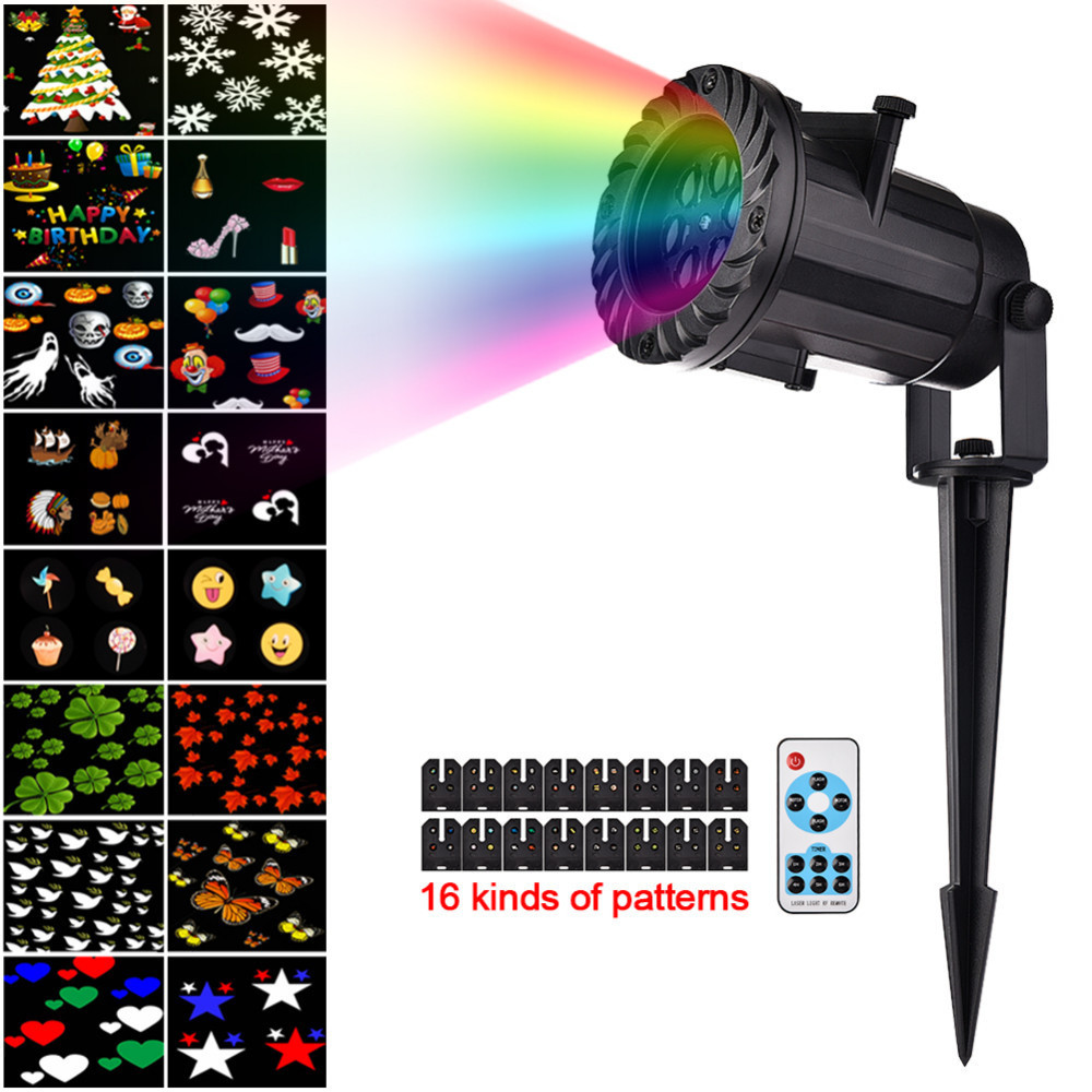 16 Pattern Slides Sparkling Laser Light Show Outdoor Lawn Lights Wireless Remote Christmas Projector Lights For New Year Holiday