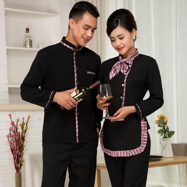 Hotel Waiter Uniform Autumn Winter Long Sleeve Waitress Uniform Clothing For Men Women Restaurant Tea Shop Service Work Wear 18
