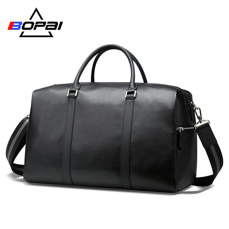 BOPAI 2018 Leather Travel Bag Organizer Large Men's Leather Duffle Bag New Fashion Silt Pocket Women Luggage Travel Duffle Bags цена 2017