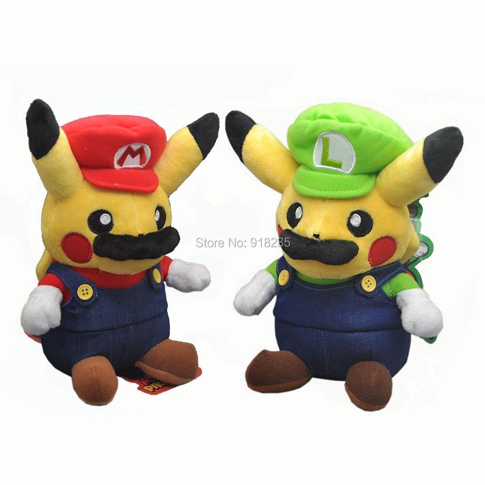 10 Lot 8 Cos Super Mario Bros Luigi Mario Pikachu Plush Doll Toys Soft Gifts Stuffed