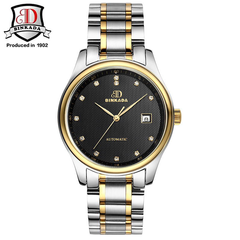 BINKADA 2019 relojes automáticos de moda para hombre, reloj de oro mecánico de marca de lujo, reloj de pulsera de acero inoxidable impermeable para hombre - 6