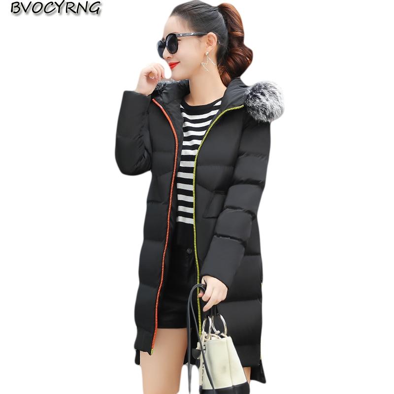 2017 Heavy Hair Collar Plus Size Women Winter Coat Female Thicker Outerwear High-quality Down Cotton Jacket Long Warm Parka Q967