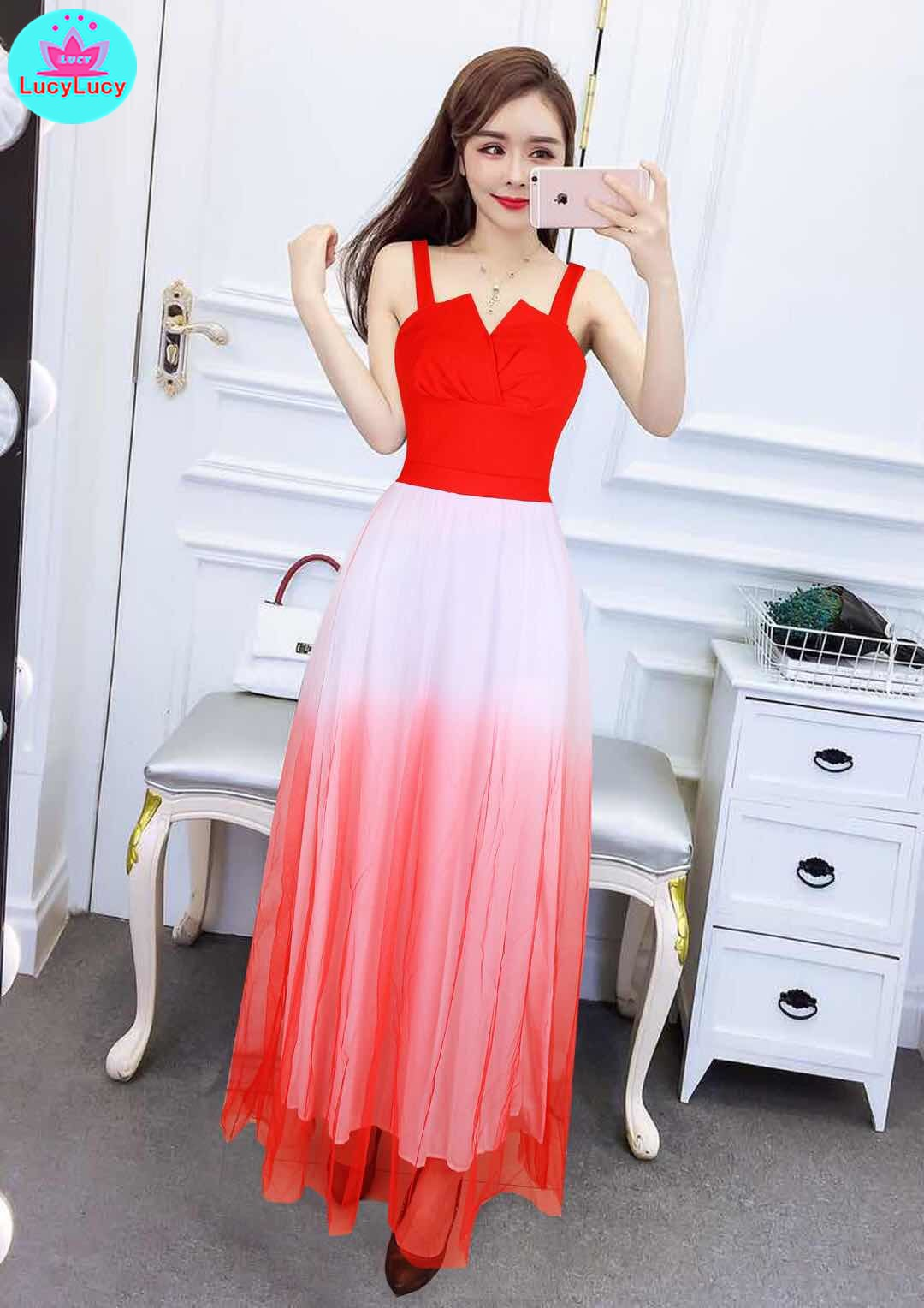 2019 summer Europe and the United States new banquet sexy mesh slim elegant strap dress in Dresses from Women 39 s Clothing