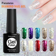 Paraness 8 ml brillo diamante UV Gel esmalte de uñas Semi permanente Gel de la suerte laca esmalte estampado Base capa de pintura gel Lak(China)