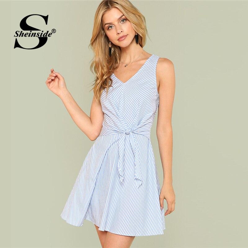 Sheinside Knot Waist Sleeveless Striped Dress Summer V Neck Fit and Flare Casual Dress Women Multicolor A Line Elegant Dress