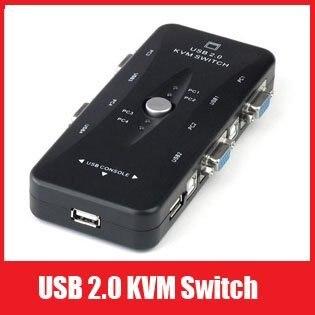 Free Shipping New Portable USB KVM 4 Ports Selector VGA Print Auto Switch Moniter Box VGA Splitter V322