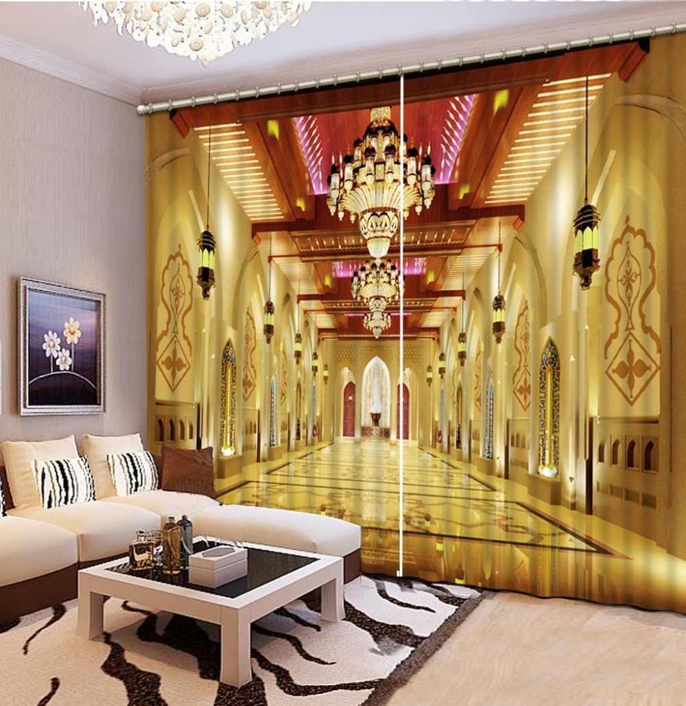 Photo 3D Curtains for Living Room Window  GOLDEN curtains