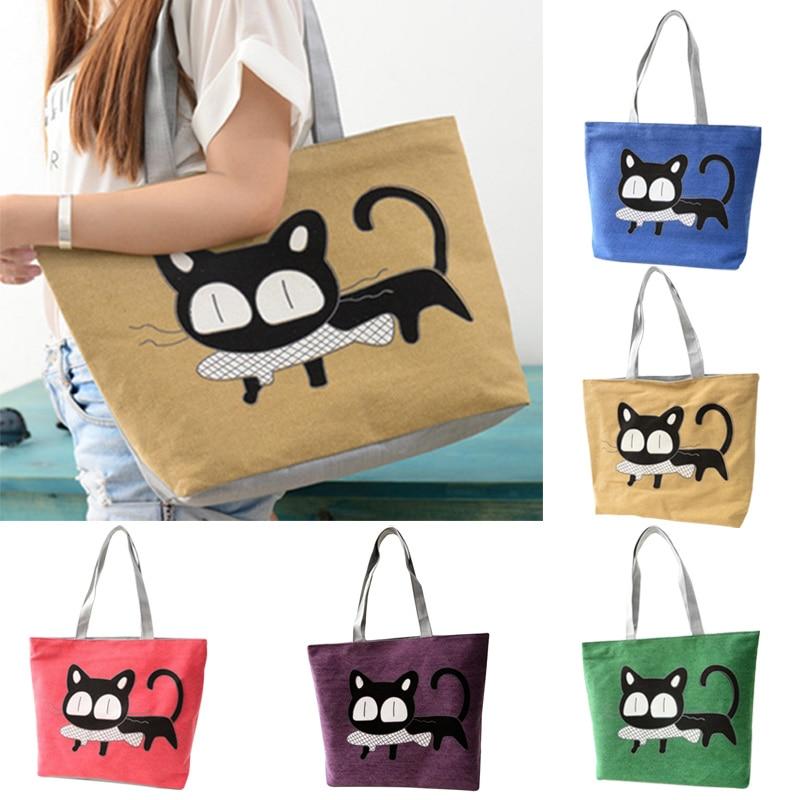 Special Cartoon Cat Fish Canvas Handbag Preppy School Bag For Girls Women's Handbags Cute Bags New