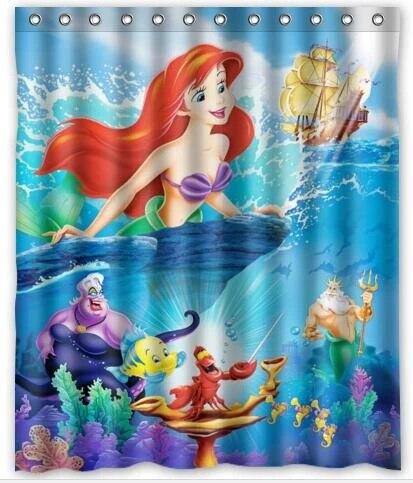custom the little mermaid shower curtain fairy tale curtain cartoon curtains waterproof home bathroom christmas decoration 027