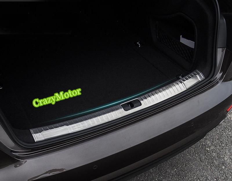 1pcs Stainless steel Built-in Rear Trunk Door Sill Guard Plate For Audi A4 B9 2016 2017 Sedan