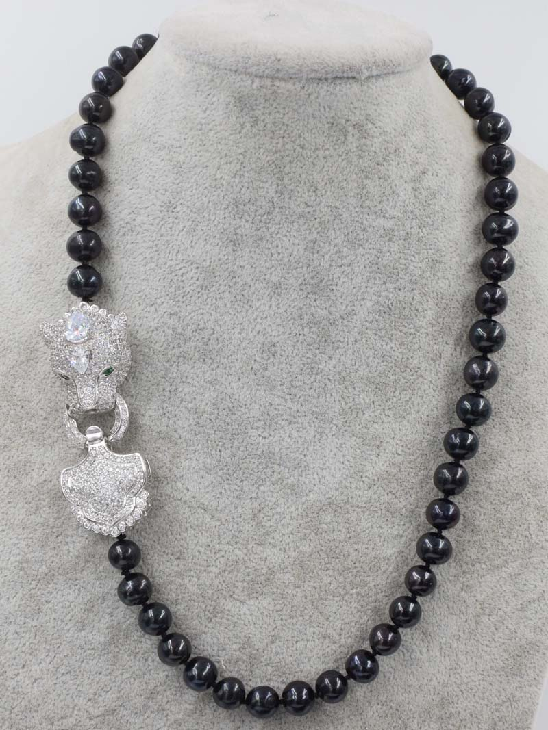 цена freshwater pearl near round 9-10mm black necklace leopard clasp 18inch wholesale beads nature FPPJ woman