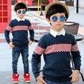 2016 Nuevo Ocio Niños ropa Para Niños, otoño Muchachos Rayas Cardigan Suéter de Punto Cardigan Chaqueta Suéter Del Bebé