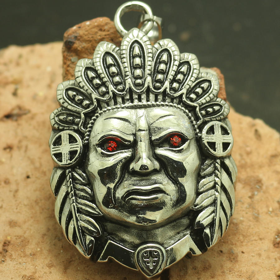 316L Edelstahl Cool Big Silber Indians Rot Stein Auge Neuestes Anhänger Kette