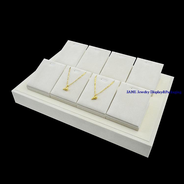 Jewelry Display Pendant Stents Necklace Stand Holder Beige Velvet Showcase Organize Cases Hand Catenary Tray
