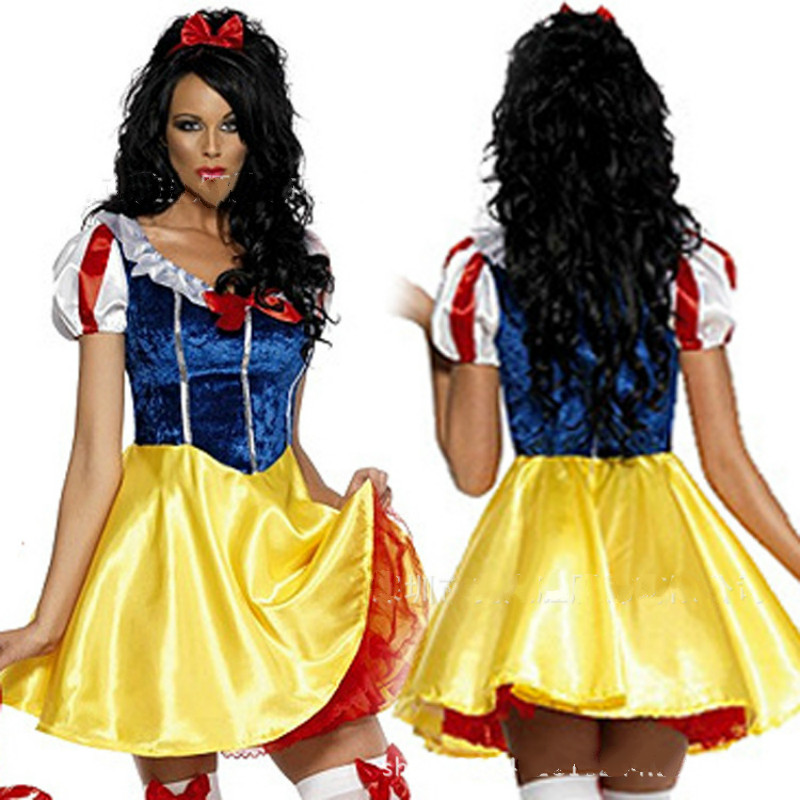 2017 fashion Women Fantasia Princess Snow White Cosplay Costume Carnival Party Fancy Dress Women Adult Snow White Costumes new