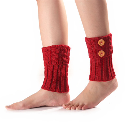 Autumn And Winter New Women's Short Section Twist Twist 2 Button Knit Warm Socks Set Wool Leggings Foot Cover Boots