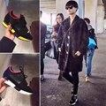 Известный Бренд B Женщины Повседневная Квартиры Натуральная Кожа Лоскутное девушки Обувь Качество Зашнуровать Обувь для Женщин T-показать Обувь XWA0472-1