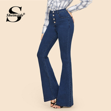 Sheinside Blue Button Up Flare Hem Long Denim Trousers Vintage Pants Capris Mid Waist