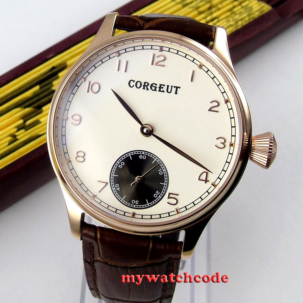 44mm Corgeut white dial rose golden case 6498 hand winding movement mens watch 1 corgeut 44mm white dial rose golden case hand winding 6498 mens watch