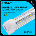 LEDVAS 25-Pack 28W V Shaped Integrated T8 LED Tubes SMD 2835 1200mm 192led Light Lamp Bulb 4feet 1.2m 4Ft AC85-265V Led Lighting