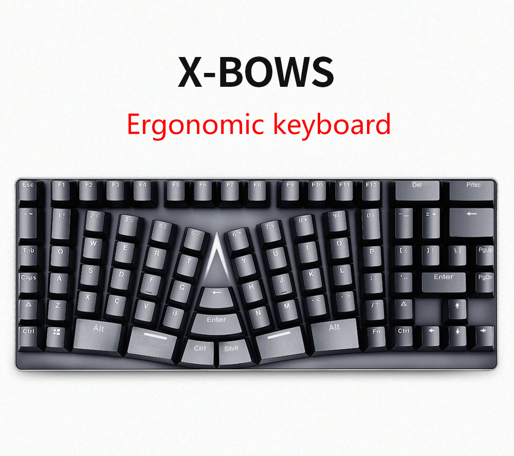 X-bows Ergonomic Mechanical Keyboard No Light Gateron Switch Teclado Mecanico Mechanical Keyboard Bow Keyboard Bow Keyboard
