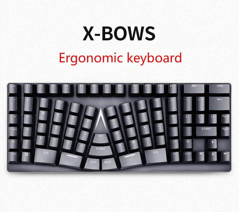 X bows ergonomic mechanical keyboard no light gateron switch teclado mecanico mechanical Keyboard Bow Keyboard bow keyboard-in Keyboard Mouse Combos from Computer & Office