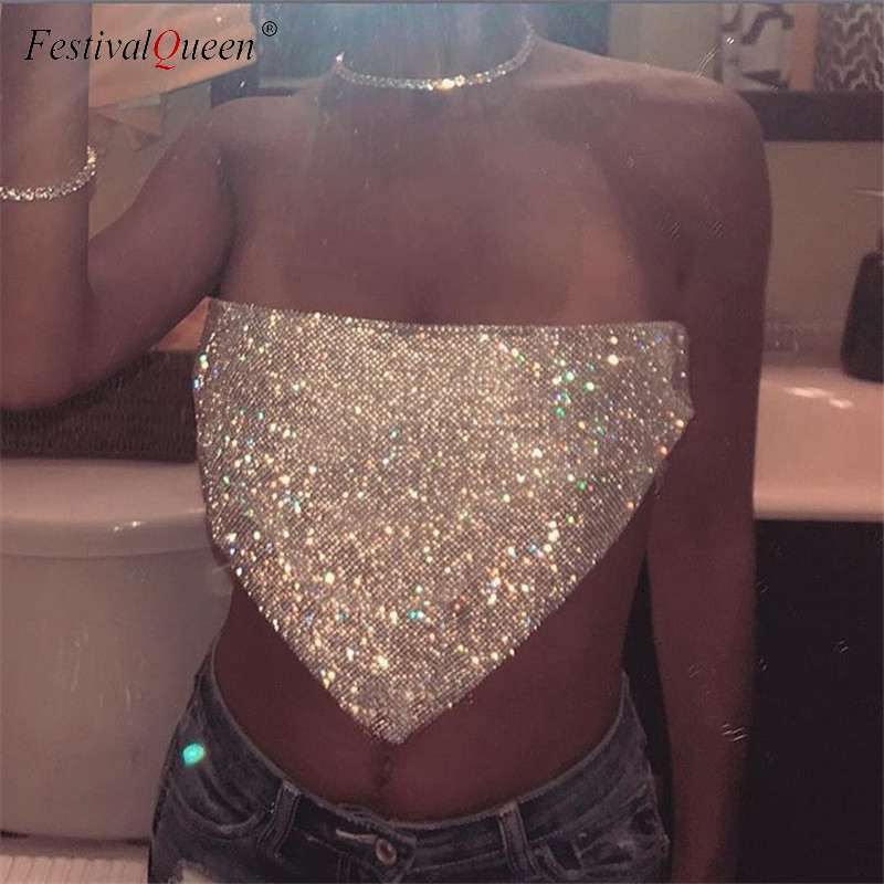 <font><b>FestivalQueen</b></font> <font><b>Sexy</b></font> Women Silver Sequined Tops Crystal Diamonds Party Club Metal Strapless Rhinestone Summer Crop Top image